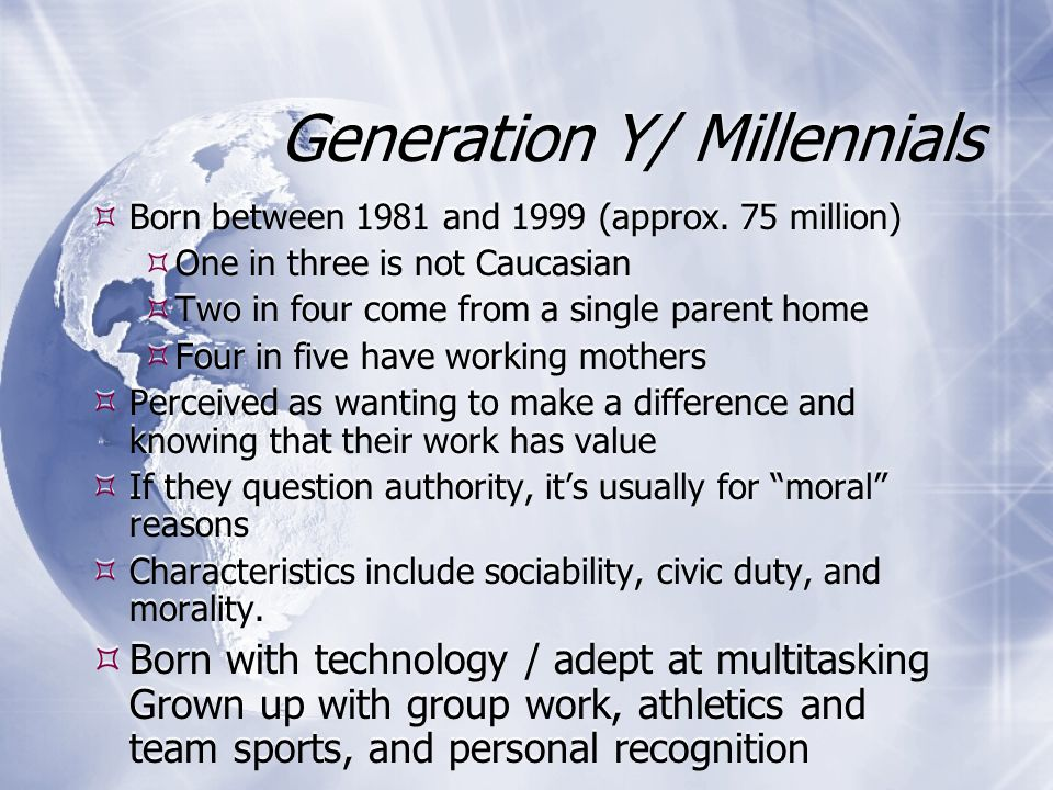 Generation Y/ Millennials  Born between 1981 and 1999 (approx.