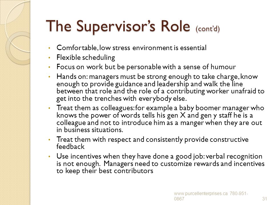 The Supervisor's Role (cont'd) Comfortable, low stress environment is essential Flexible scheduling Focus on work but be personable with a sense of hu