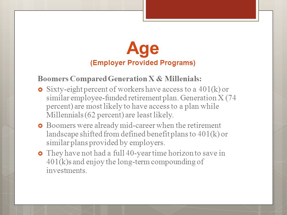 Age (Employer Provided Programs) Boomers Compared Generation X & Millenials:  Sixty-eight percent of workers have access to a 401(k) or similar emplo