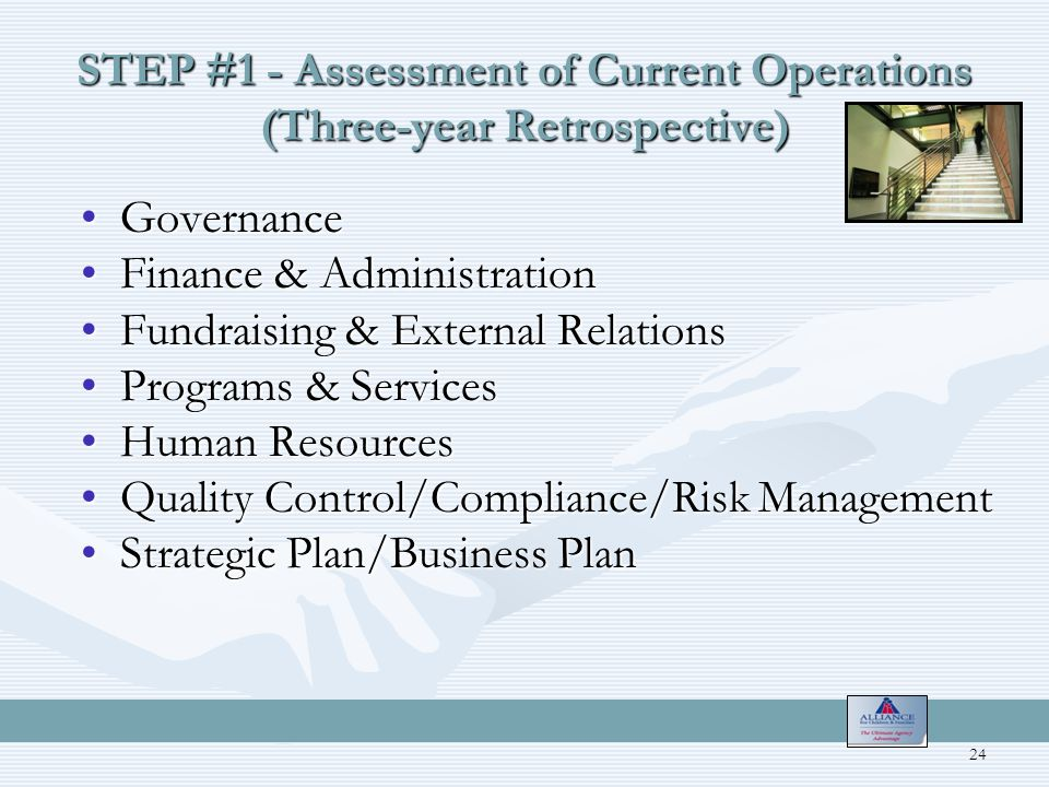STEP #1 - Assessment of Current Operations (Three-year Retrospective) GovernanceGovernance Finance & AdministrationFinance & Administration Fundraising & External RelationsFundraising & External Relations Programs & ServicesPrograms & Services Human ResourcesHuman Resources Quality Control/Compliance/Risk ManagementQuality Control/Compliance/Risk Management Strategic Plan/Business PlanStrategic Plan/Business Plan 24