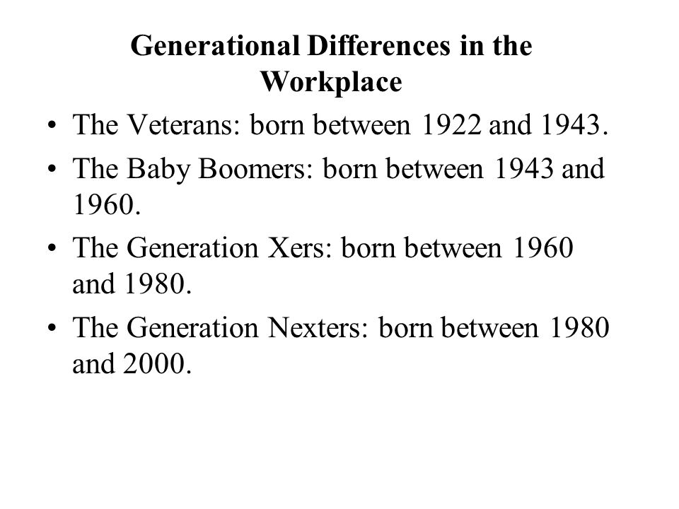 The Veterans: born between 1922 and 1943. The Baby Boomers: born between 1943 and 1960.