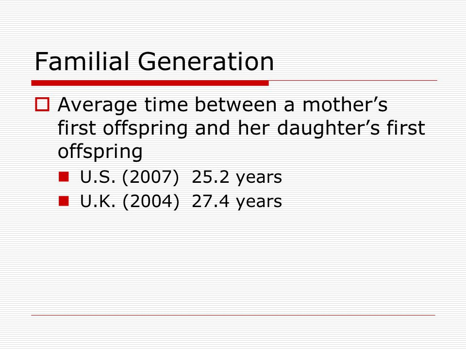Familial Generation  Average time between a mother's first offspring and her daughter's first offspring U.S.