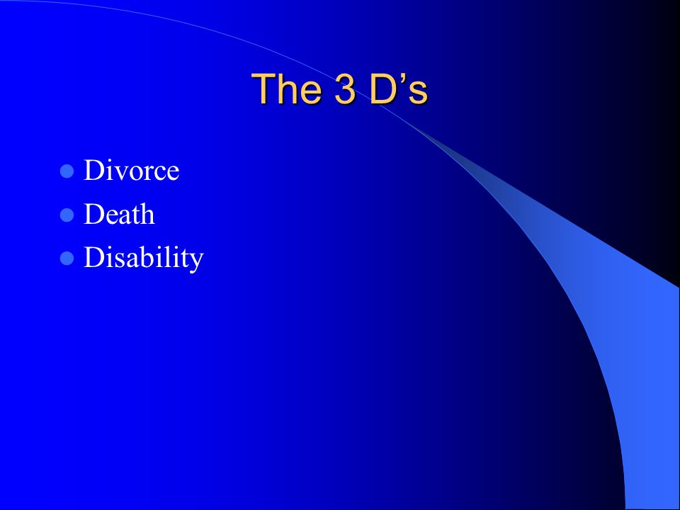 The 3 D's Divorce Death Disability
