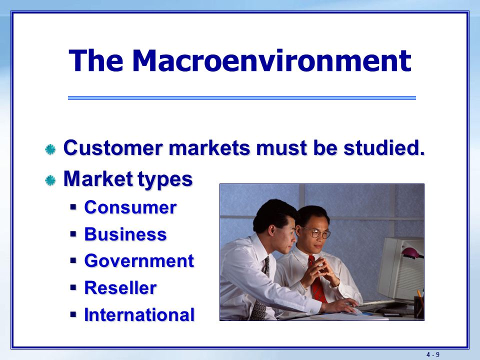 4 - 9 The Macroenvironment Customer markets must be studied. Market types  Consumer  Business  Government  Reseller  International