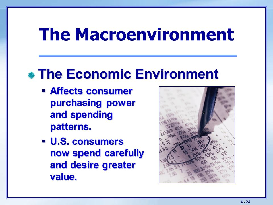 4 - 24 The Macroenvironment The Economic Environment  Affects consumer purchasing power and spending patterns.  U.S. consumers now spend carefully a