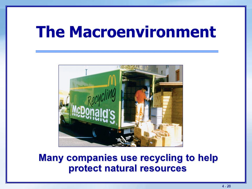 4 - 28 The Macroenvironment Many companies use recycling to help protect natural resources Many companies use recycling to help protect natural resour