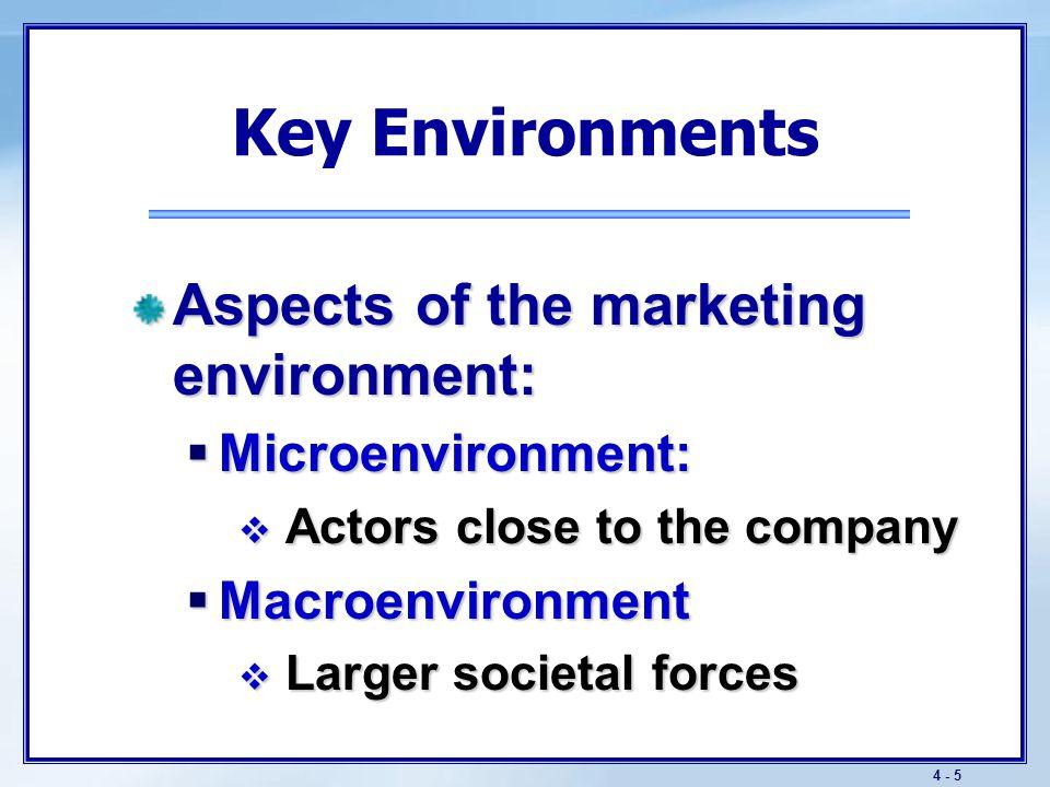 4 - 5 Key Environments Aspects of the marketing environment:  Microenvironment:  Actors close to the company  Macroenvironment  Larger societal fo