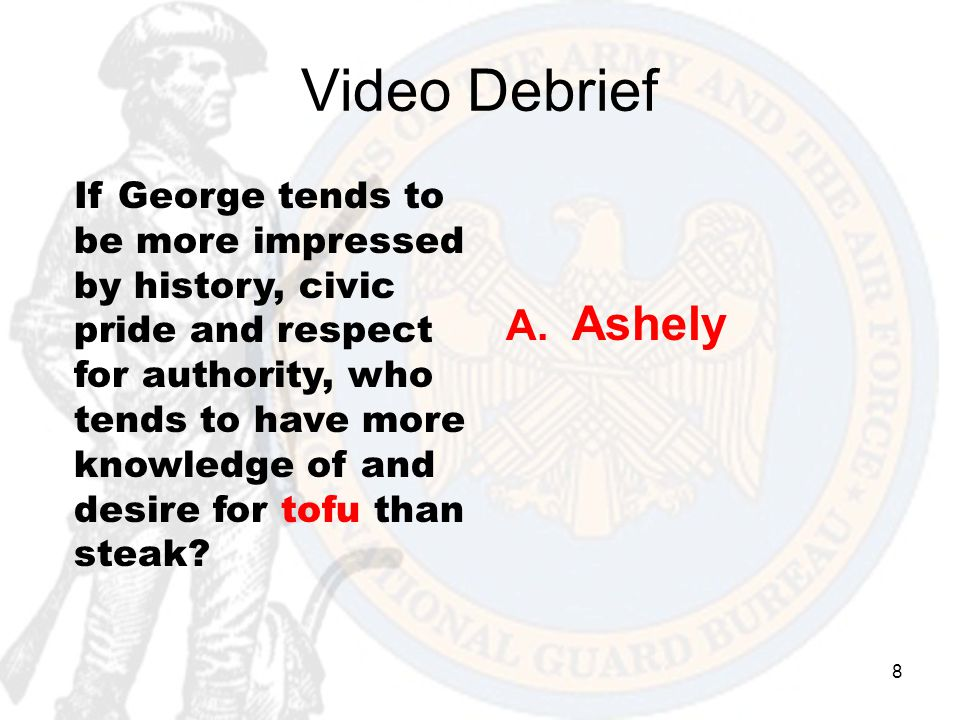 8 Video Debrief If George tends to be more impressed by history, civic pride and respect for authority, who tends to have more knowledge of and desire