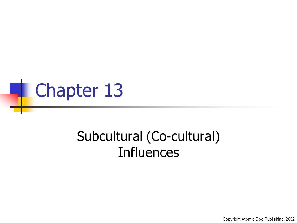 Copyright Atomic Dog Publishing, 2002 Chapter 13 Subcultural (Co-cultural) Influences