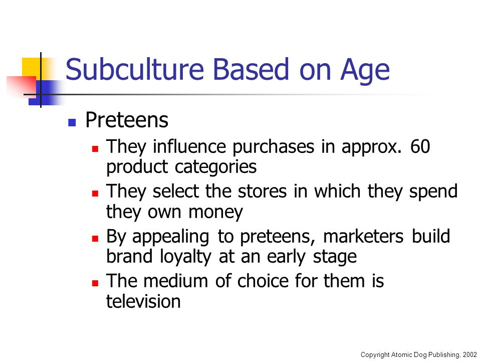 Copyright Atomic Dog Publishing, 2002 Subculture Based on Age Preteens They influence purchases in approx.