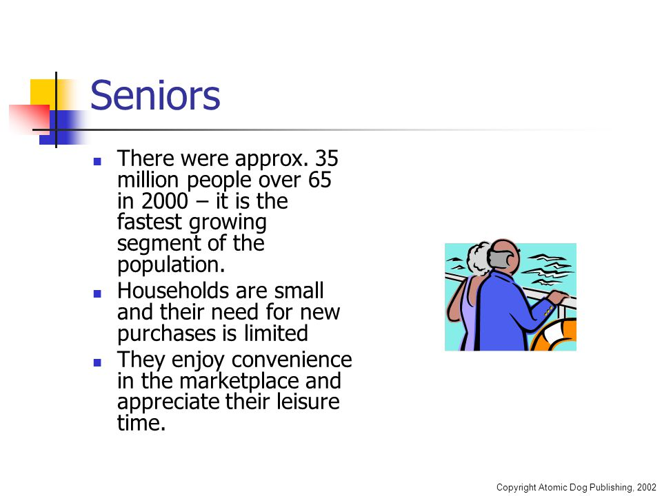 Copyright Atomic Dog Publishing, 2002 Seniors There were approx.