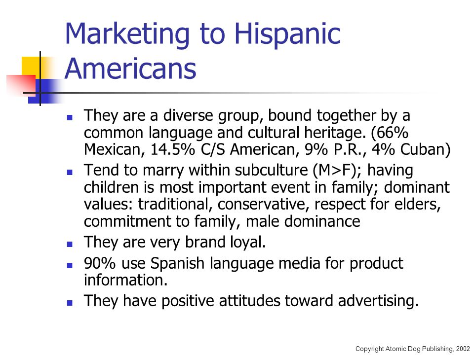 Copyright Atomic Dog Publishing, 2002 Marketing to Hispanic Americans They are a diverse group, bound together by a common language and cultural heritage.