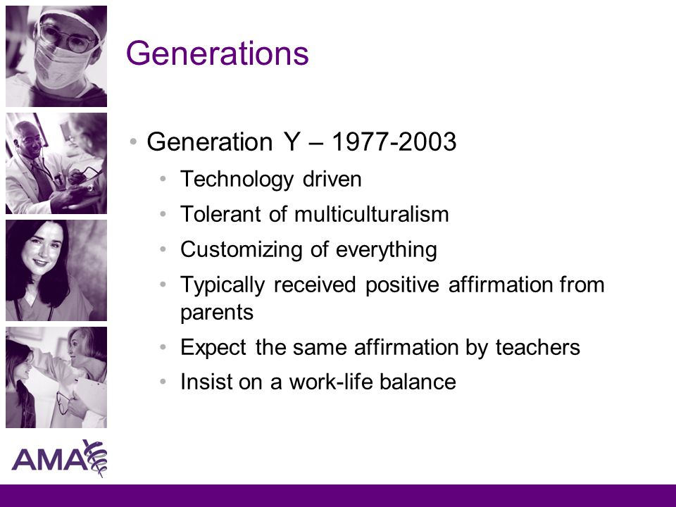 Generations Generation Y – 1977-2003 Technology driven Tolerant of multiculturalism Customizing of everything Typically received positive affirmation from parents Expect the same affirmation by teachers Insist on a work-life balance