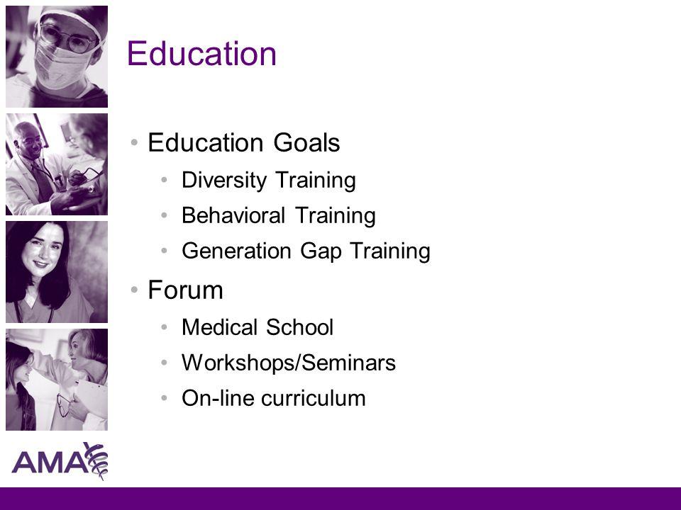 Education Education Goals Diversity Training Behavioral Training Generation Gap Training Forum Medical School Workshops/Seminars On-line curriculum