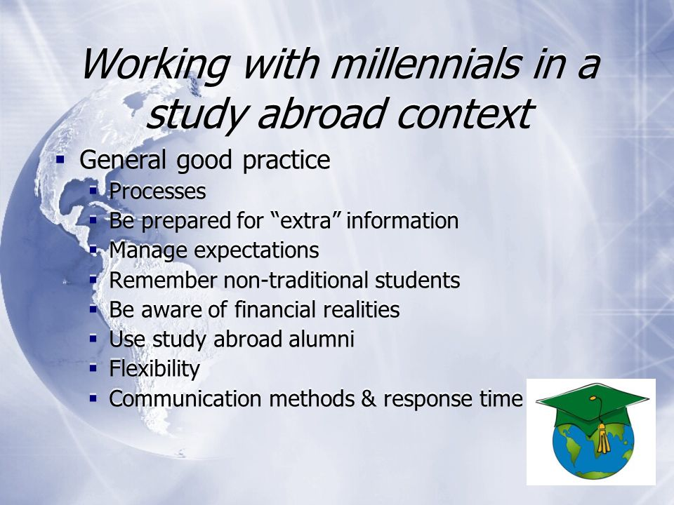 Millennials within a study abroad context …  I am writing because I am in the process of booking my ticket to Murcia and would like to know if I have to pay for extra luggage or whether allowances are made for ERASMUS students.