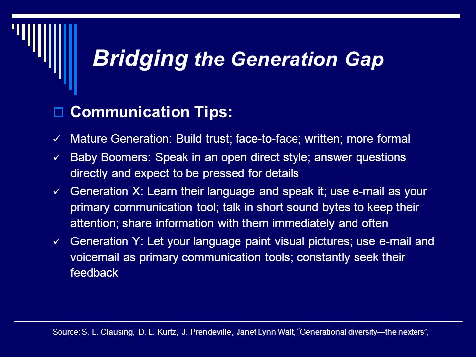 Bridging the Generation Gap  Communication Tips: Mature Generation: Build trust; face-to-face; written; more formal Baby Boomers: Speak in an open di
