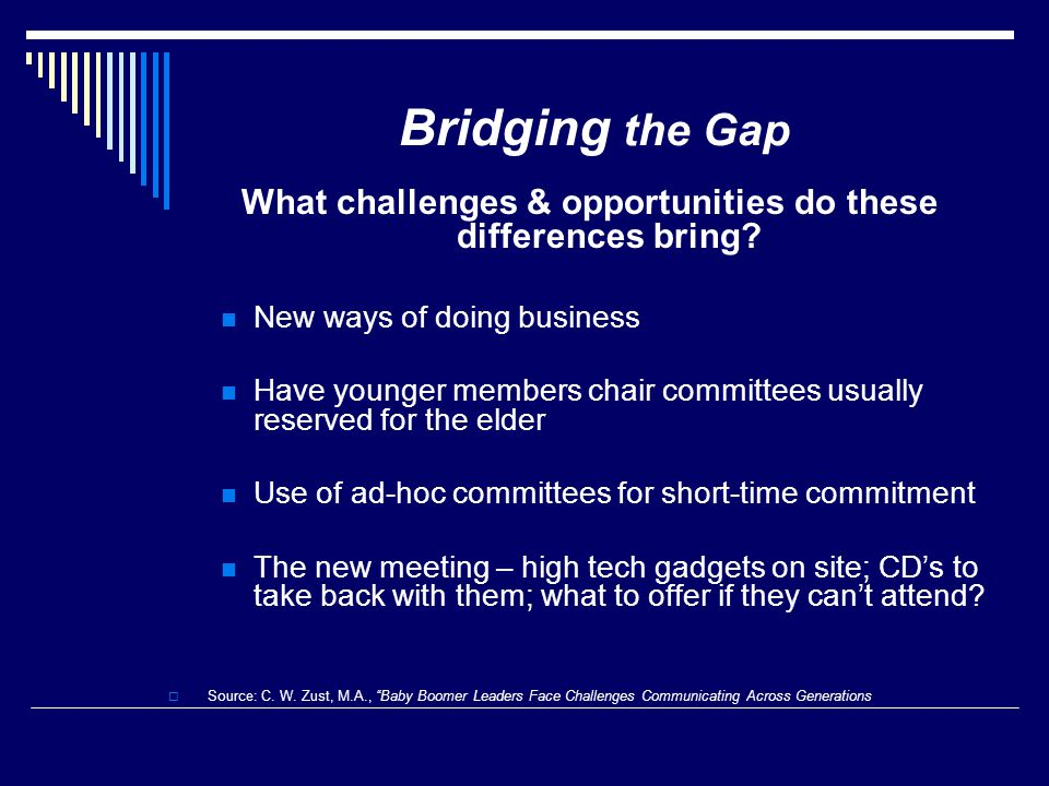 Bridging the Gap What challenges & opportunities do these differences bring? New ways of doing business Have younger members chair committees usually