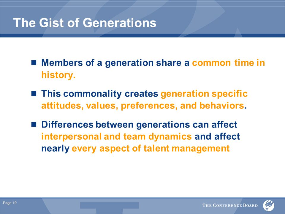 Page:10 The Gist of Generations Members of a generation share a common time in history.