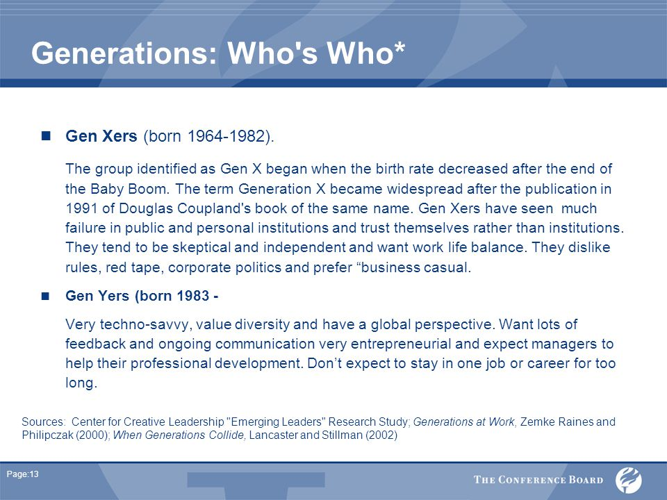 Page:13 Generations: Who s Who* Gen Xers (born 1964-1982).