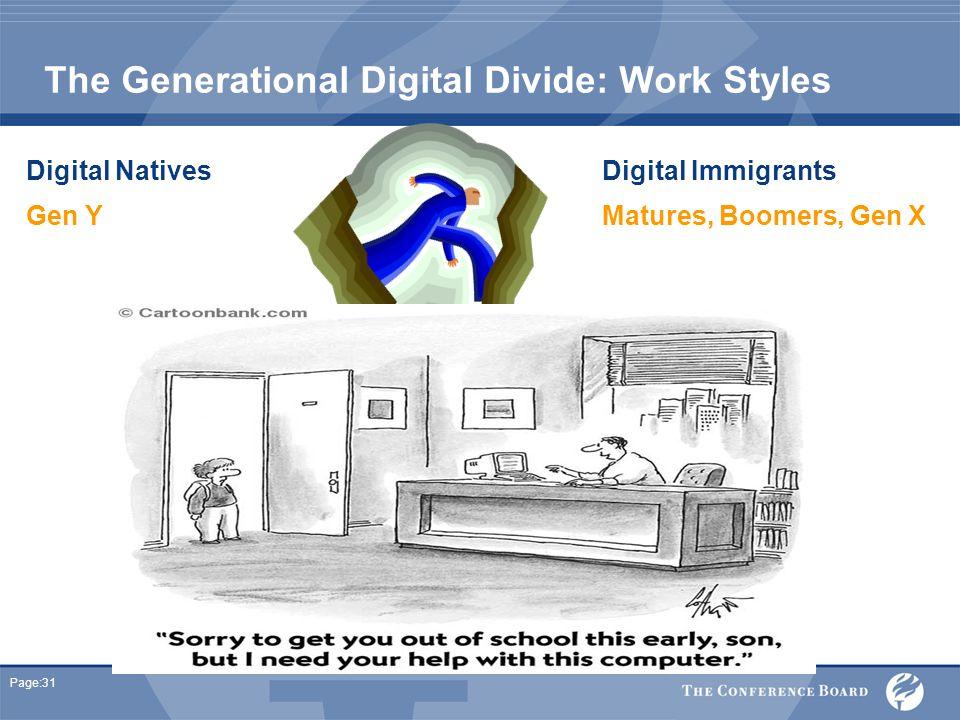 Page:31 The Generational Digital Divide: Work Styles Digital Natives Digital Immigrants Gen YMatures, Boomers, Gen X