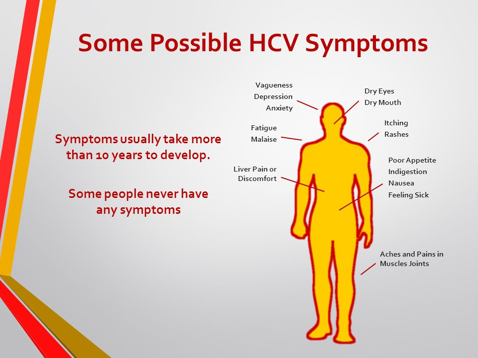 Some Possible HCV Symptoms Vagueness Depression Anxiety Dry Eyes Dry Mouth Fatigue Malaise Aches and Pains in Muscles Joints Poor Appetite Indigestion Nausea Feeling Sick Liver Pain or Discomfort Itching Rashes Symptoms usually take more than 10 years to develop.