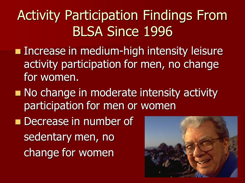 Activity Participation Findings From BLSA Since 1996 Increase in medium-high intensity leisure activity participation for men, no change for women.