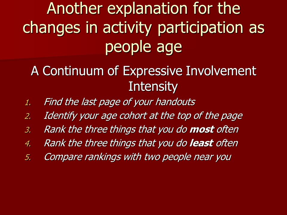 Another explanation for the changes in activity participation as people age A Continuum of Expressive Involvement Intensity 1.