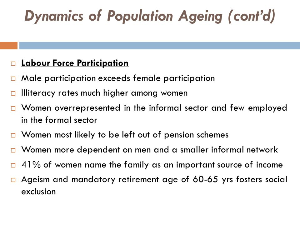 THE FIRST WORLD RESPONSE  The United States  Low fertility & high life expectancy combine for slow growth rate  17.9% of Americans are elderly persons (UN, 2009)  2.7% annual elderly growth rate exceeds total population growth rate 1%  'Baby boomer' generation to severely affect PSR due retirement in 2011  PSR to decrease to 3.4% in 2025 and 2.9% in 2050  Growing fiscal gap due to low PSR will affect Social Security support  Oldest-old 38% and growing at fastest rate (long-term care increase)  7.7% of GDP is spent on pensions in developed countries & 15% by 2050  Approx.