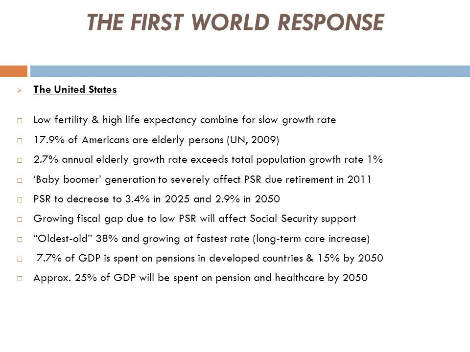 THE FIRST WORLD RESPONSE  The United States  Low fertility & high life expectancy combine for slow growth rate  17.9% of Americans are elderly persons (UN, 2009)  2.7% annual elderly growth rate exceeds total population growth rate 1%  'Baby boomer' generation to severely affect PSR due retirement in 2011  PSR to decrease to 3.4% in 2025 and 2.9% in 2050  Growing fiscal gap due to low PSR will affect Social Security support  Oldest-old 38% and growing at fastest rate (long-term care increase)  7.7% of GDP is spent on pensions in developed countries & 15% by 2050  Approx.