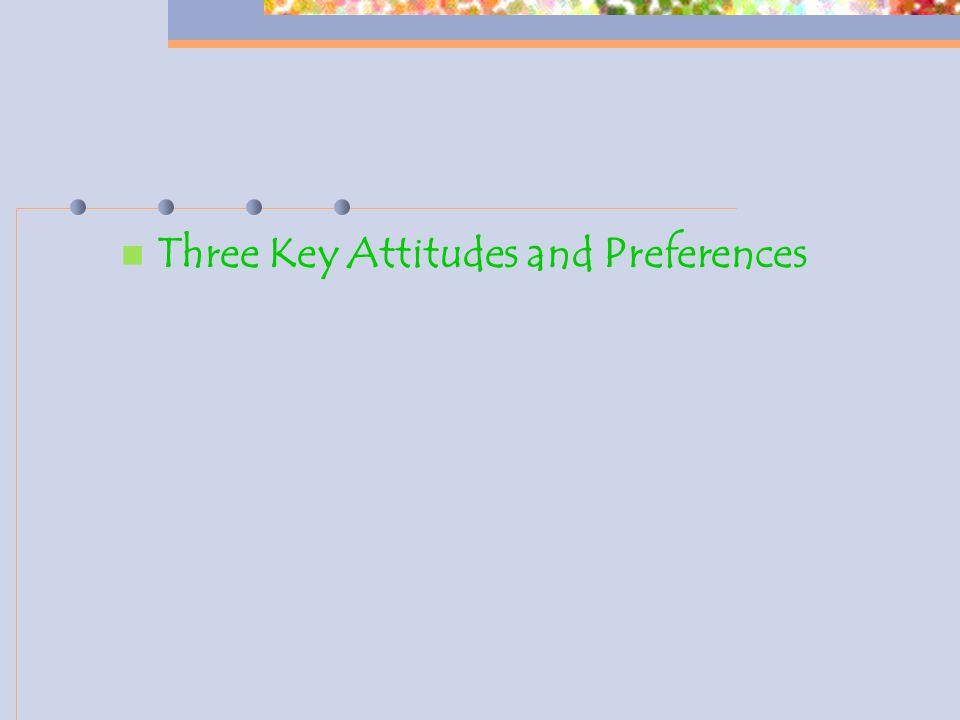 Three Key Attitudes and Preferences
