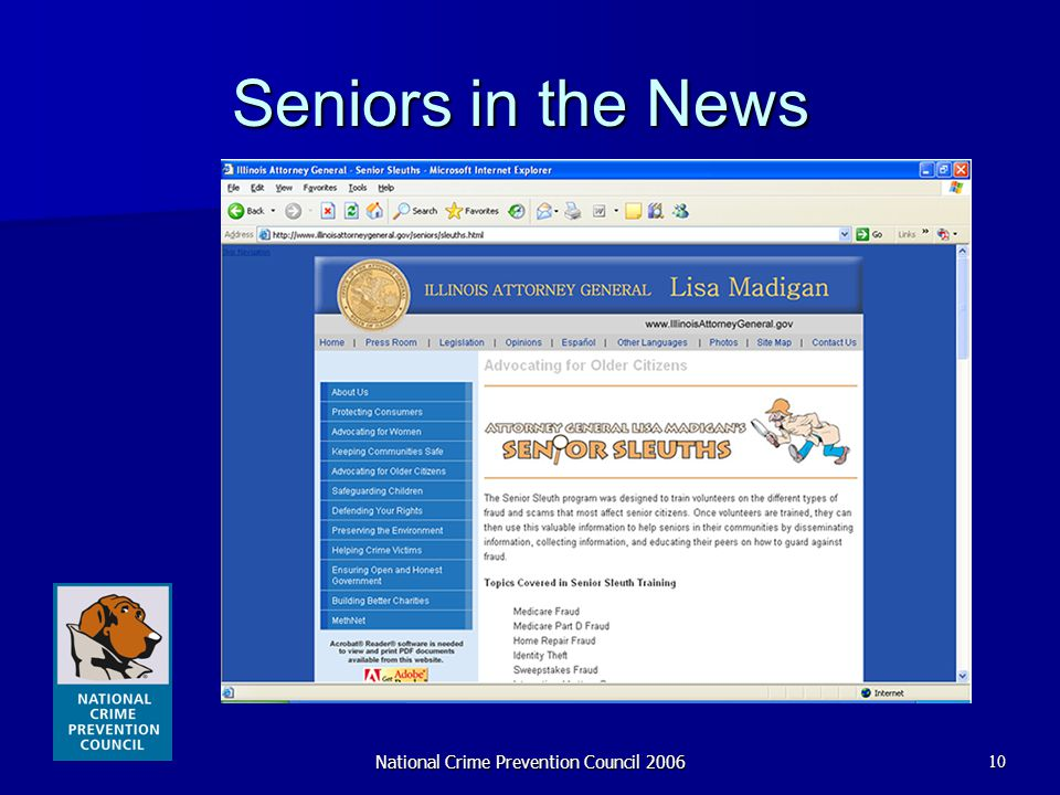 National Crime Prevention Council 200610 Seniors in the News