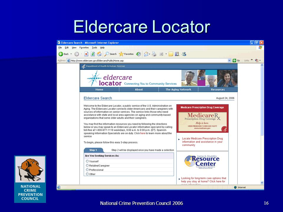National Crime Prevention Council 200616 Eldercare Locator