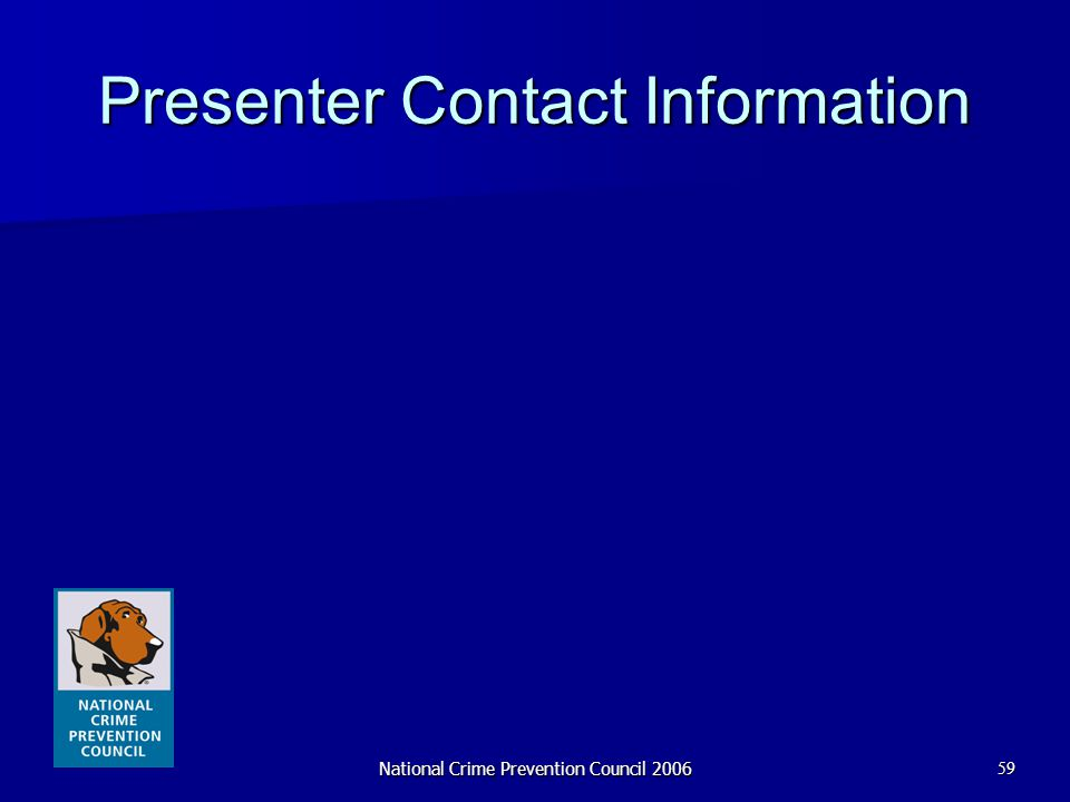National Crime Prevention Council 200659 Presenter Contact Information