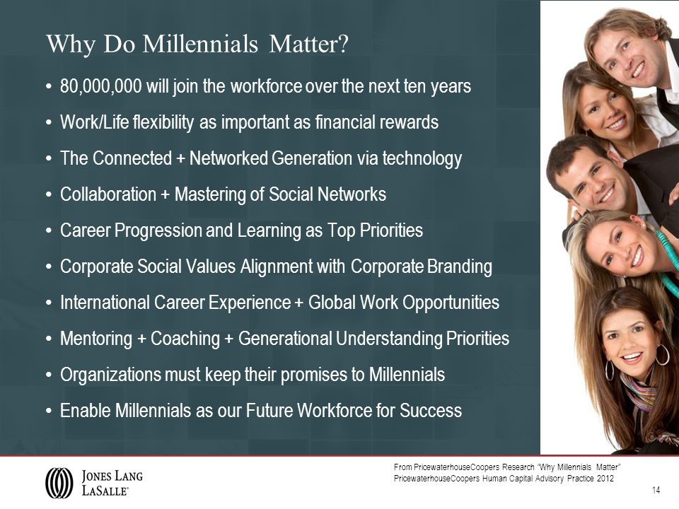 Why Do Millennials Matter? 80,000,000 will join the workforce over the next ten years Work/Life flexibility as important as financial rewards The Conn