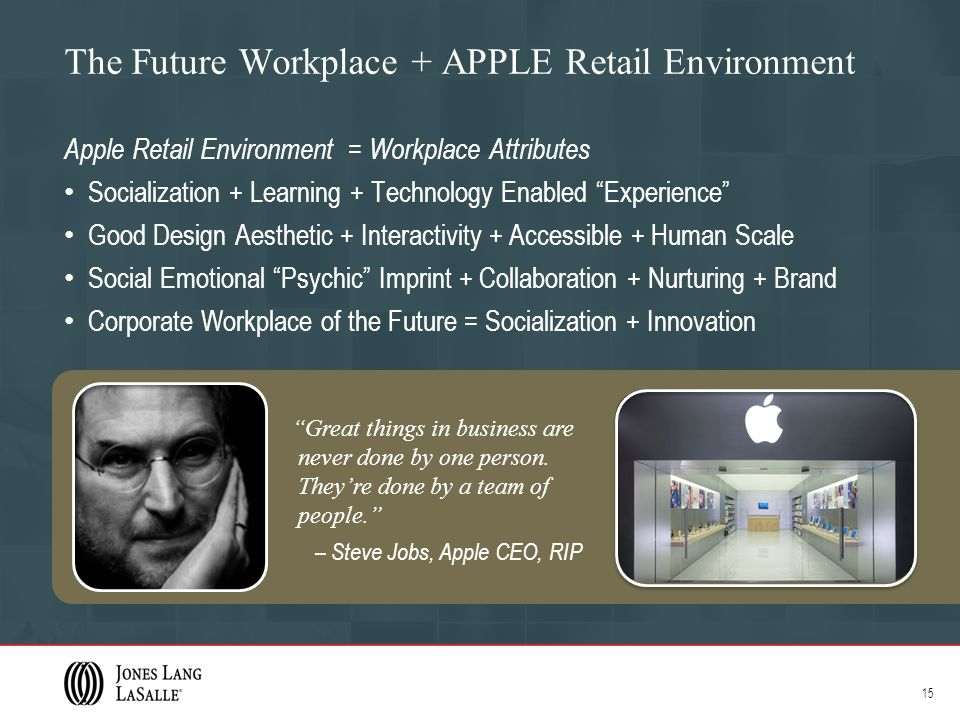 The Future Workplace + APPLE Retail Environment Apple Retail Environment = Workplace Attributes Socialization + Learning + Technology Enabled Experience Good Design Aesthetic + Interactivity + Accessible + Human Scale Social Emotional Psychic Imprint + Collaboration + Nurturing + Brand Corporate Workplace of the Future = Socialization + Innovation 15 Great things in business are never done by one person.
