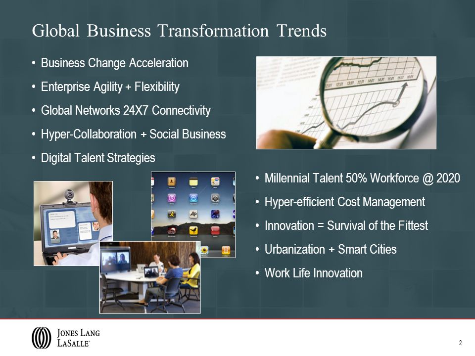 Global Business Transformation Trends Business Change Acceleration Enterprise Agility + Flexibility Global Networks 24X7 Connectivity Hyper-Collaboration + Social Business Digital Talent Strategies Millennial Talent 50% Workforce @ 2020 Hyper-efficient Cost Management Innovation = Survival of the Fittest Urbanization + Smart Cities Work Life Innovation 2