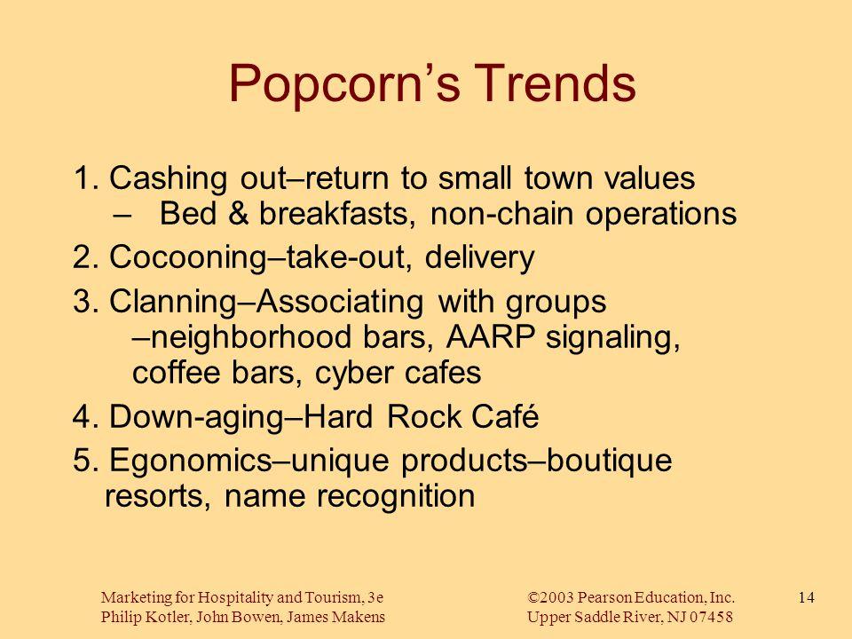 Marketing for Hospitality and Tourism, 3e©2003 Pearson Education, Inc. Philip Kotler, John Bowen, James MakensUpper Saddle River, NJ 07458 14 Popcorn'