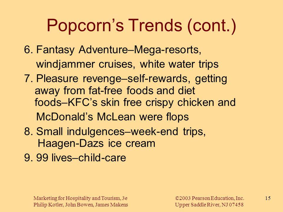 Marketing for Hospitality and Tourism, 3e©2003 Pearson Education, Inc. Philip Kotler, John Bowen, James MakensUpper Saddle River, NJ 07458 15 Popcorn'