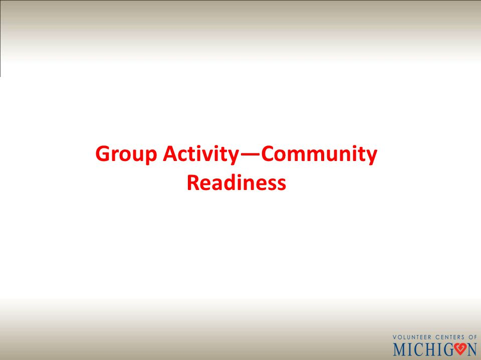 Group Activity—Community Readiness