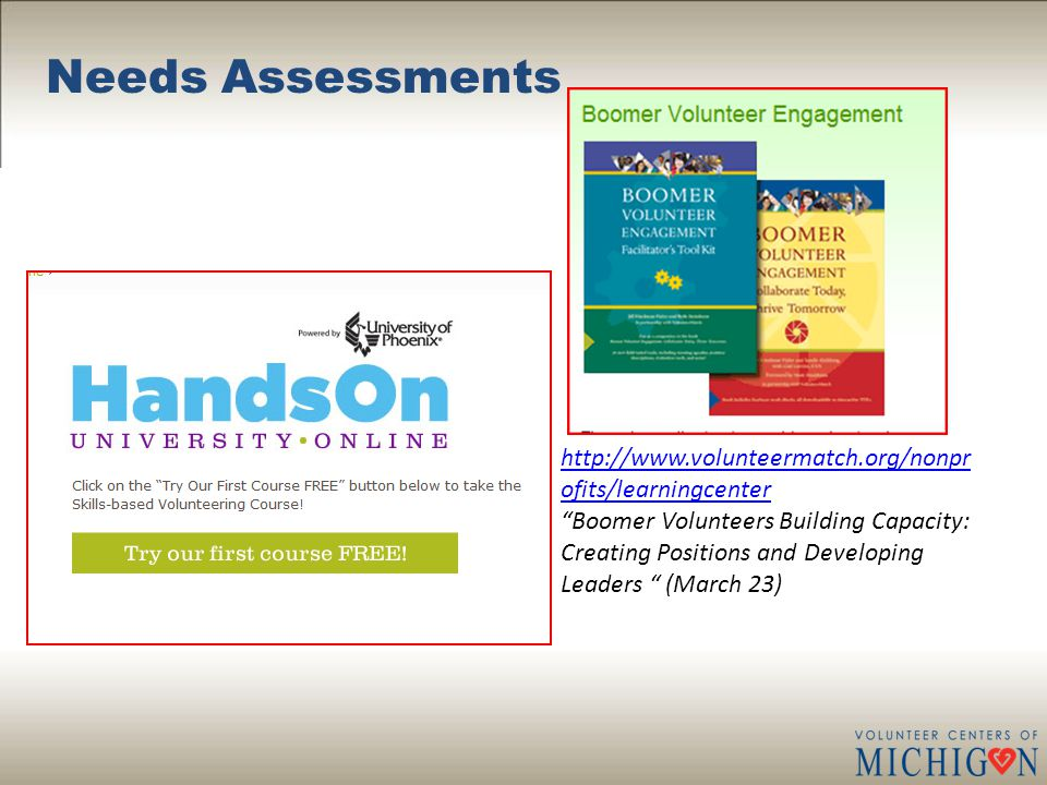 """Needs Assessments http://www.volunteermatch.org/nonpr ofits/learningcenter """"Boomer Volunteers Building Capacity: Creating Positions and Developing Lea"""