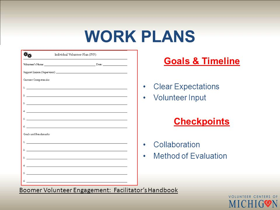 WORK PLANS Goals & Timeline Clear Expectations Volunteer Input Checkpoints Collaboration Method of Evaluation Boomer Volunteer Engagement: Facilitator's Handbook