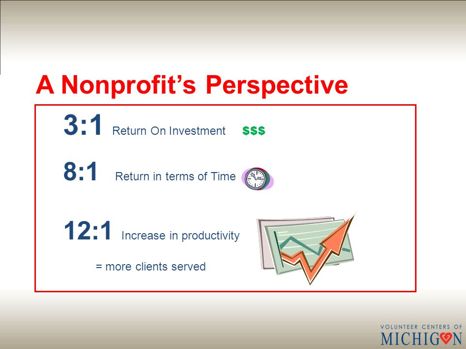 A Nonprofit's Perspective 3:1 Return On Investment $$$ 8:1 Return in terms of Time 12:1 Increase in productivity = more clients served