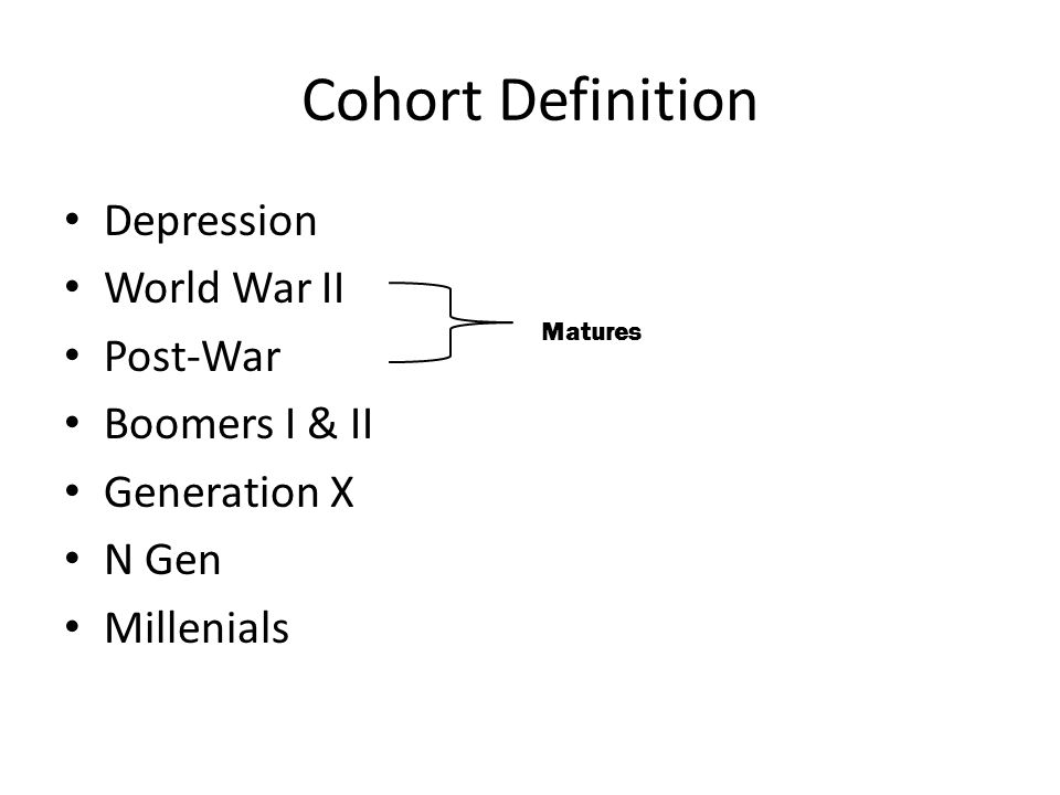 Cohort Definition Depression World War II Post-War Boomers I & II Generation X N Gen Millenials Matures
