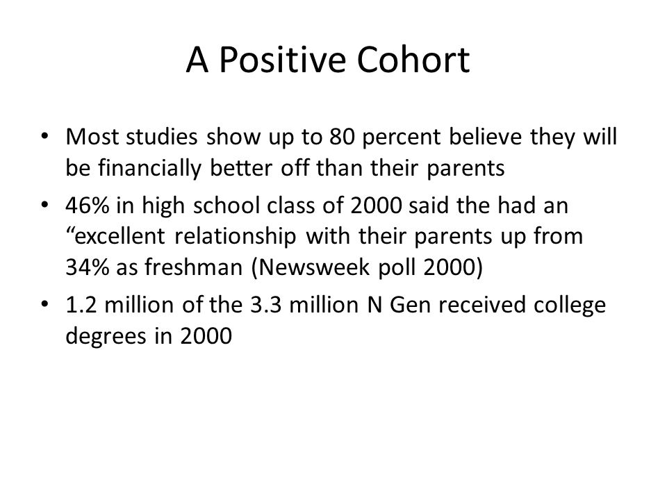 A Positive Cohort Most studies show up to 80 percent believe they will be financially better off than their parents 46% in high school class of 2000 s