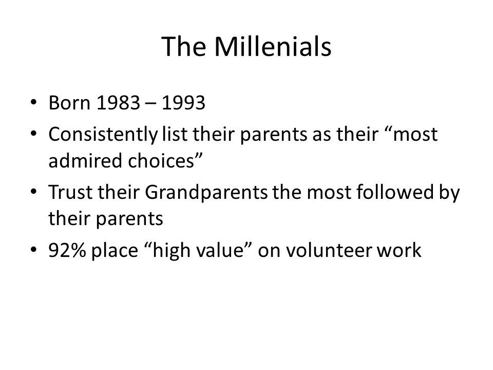 """The Millenials Born 1983 – 1993 Consistently list their parents as their """"most admired choices"""" Trust their Grandparents the most followed by their pa"""