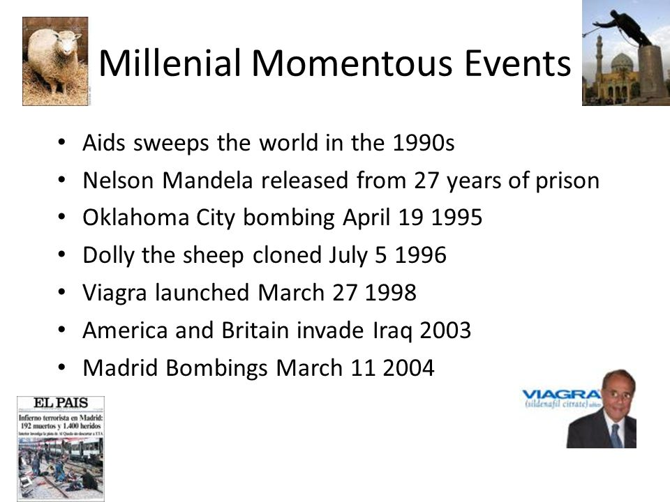 Millenial Momentous Events Aids sweeps the world in the 1990s Nelson Mandela released from 27 years of prison Oklahoma City bombing April 19 1995 Doll