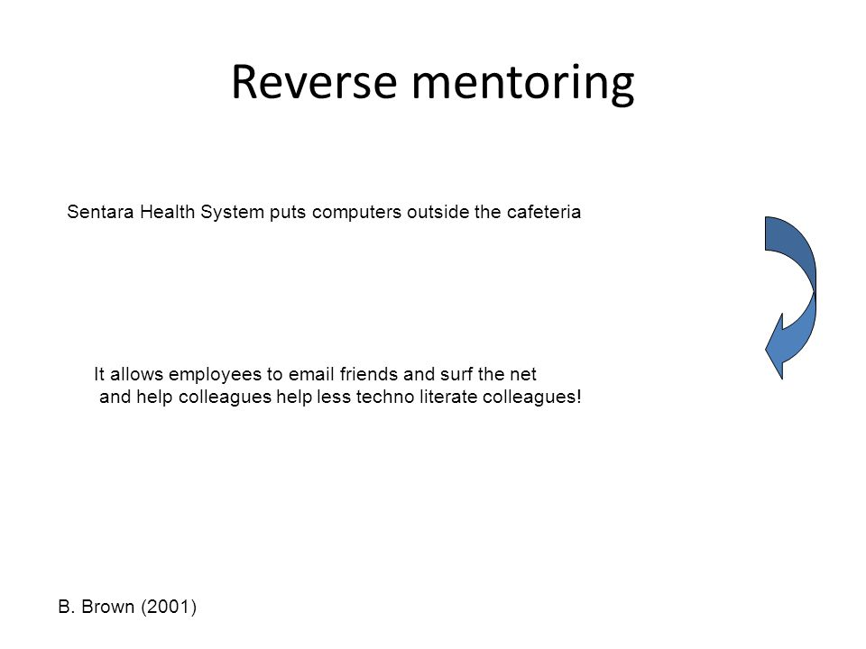 Reverse mentoring Sentara Health System puts computers outside the cafeteria It allows employees to email friends and surf the net and help colleagues help less techno literate colleagues.