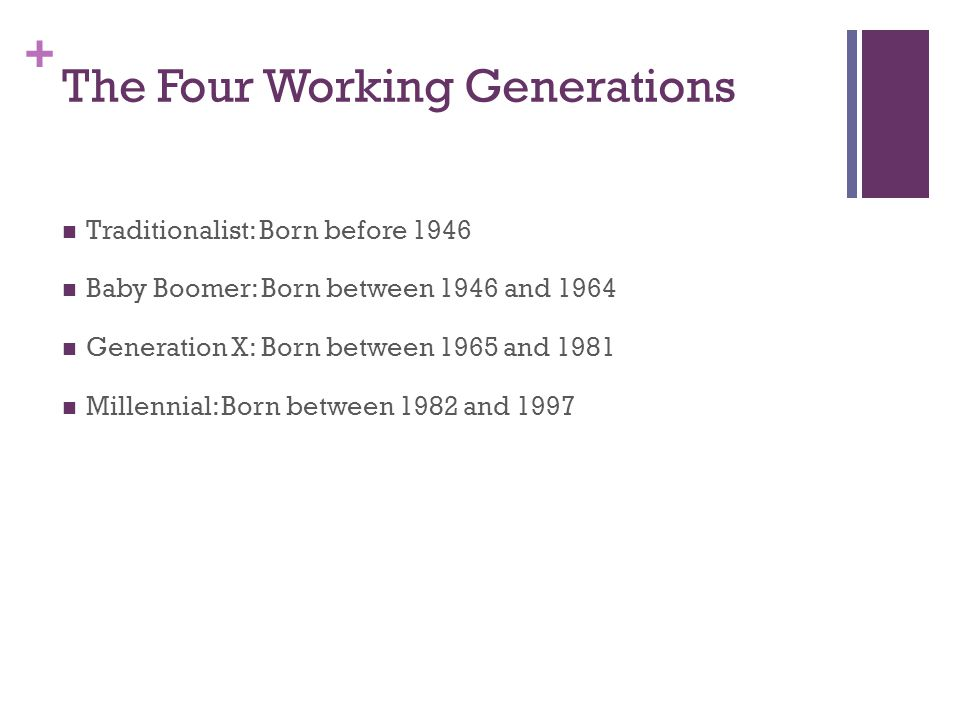 + Baby Boomers 1946 - 1964