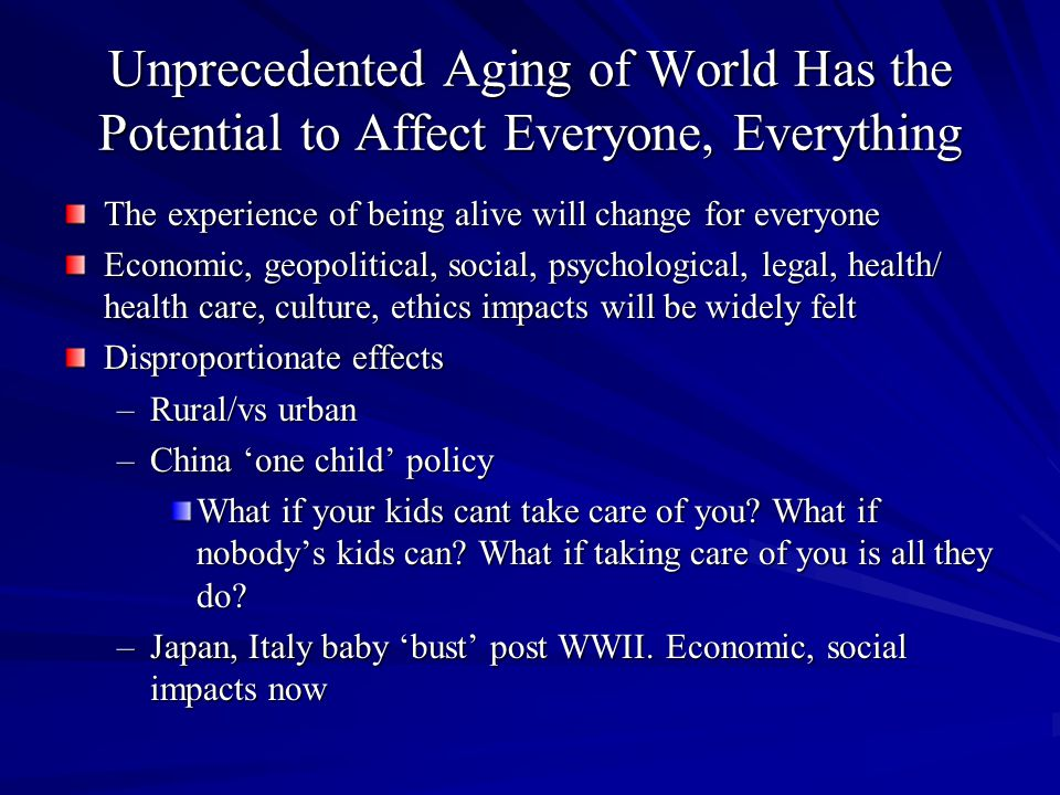 How Might Population Aging Be Good.