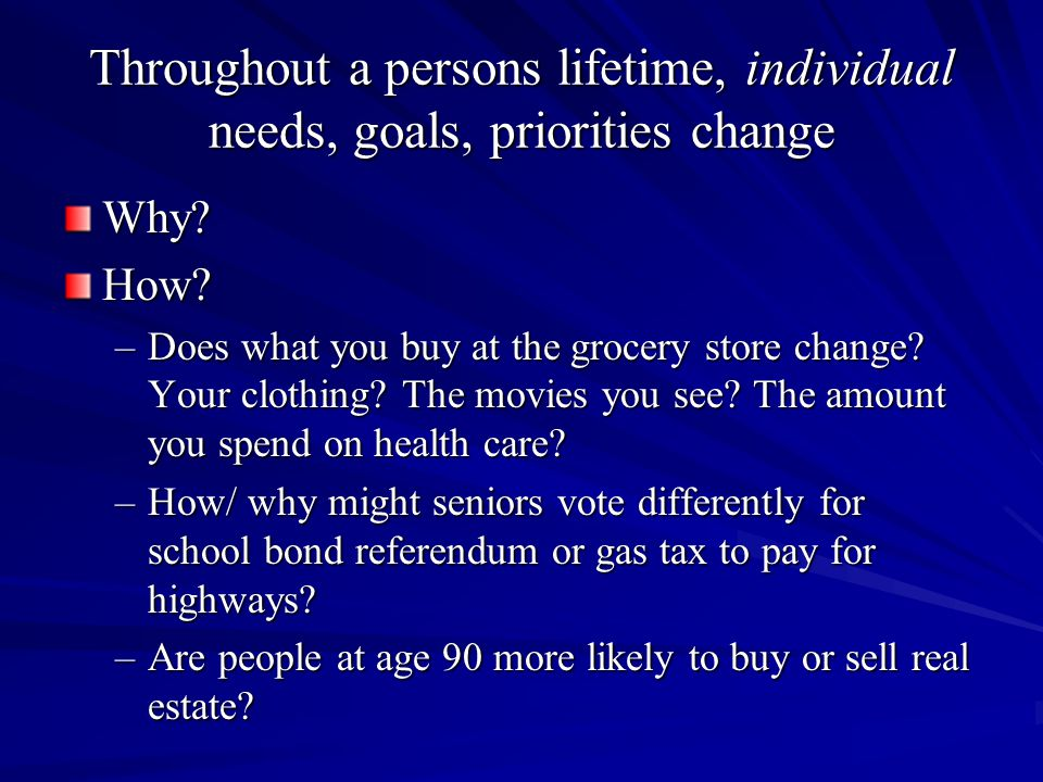 Throughout a persons lifetime, individual needs, goals, priorities change Why How.